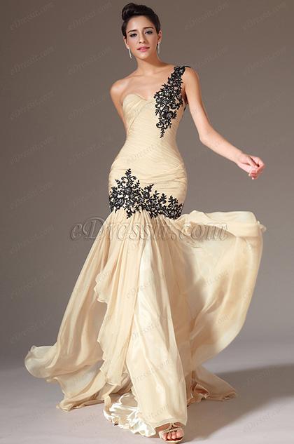 eDressit 2014 Novedad Beige Solo Hombro Escote en Cariño Vestido Formal de Celemonia(02143214)