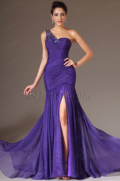 eDressit 2014 Nouveauté Violette Une Bretelle en Perles  Fente Haute Robe de Soirée(00144806)
