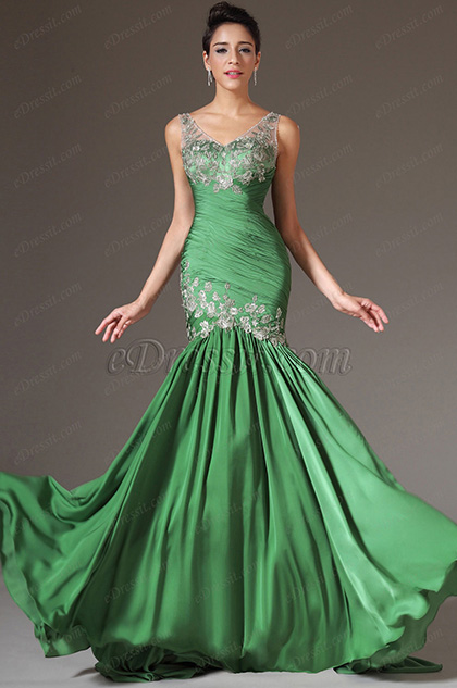 eDressit Green V-Neck Lace Top Evening Gown (02141118)
