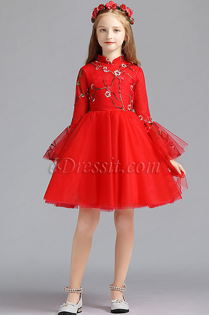 eDressit Red Embroidery Princess Flower Girl Stage Dress (28194602)