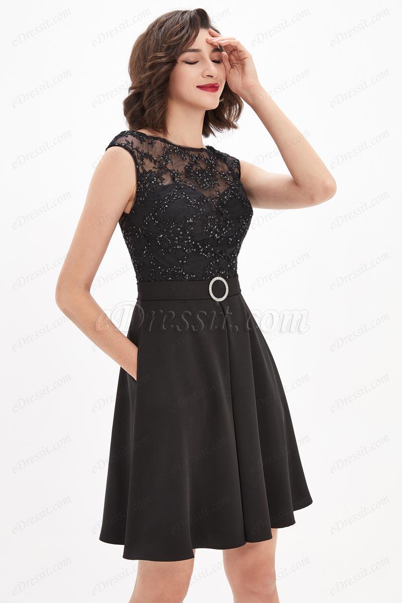 eDressit Black Illusion Neckline Sequins Lace Cocktail Party Dress (04210500)