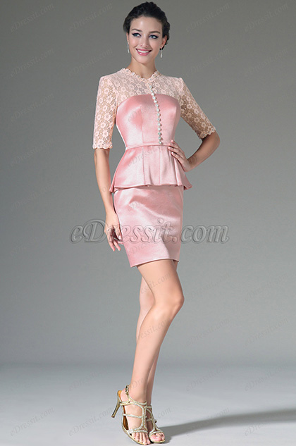 eDressit Pink Lace Top & Sleeves Knee Length Formal Dress (26144601)
