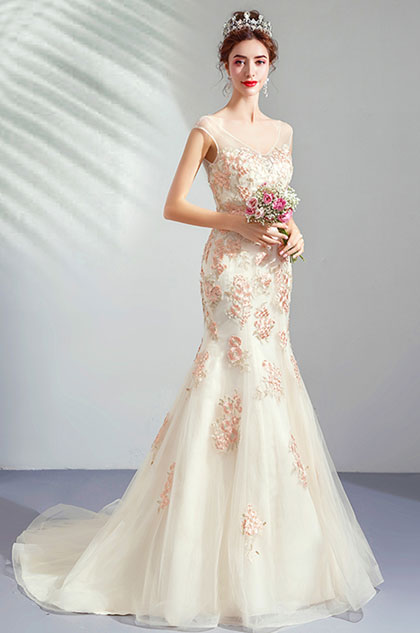 eDressit Deep V-Cut  Cap Sleeves Embroidery Party Wedding Dress (36213207)