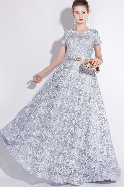 eDressit Grey Short Sleeves Long Party Evening Ball Dress (36216208)