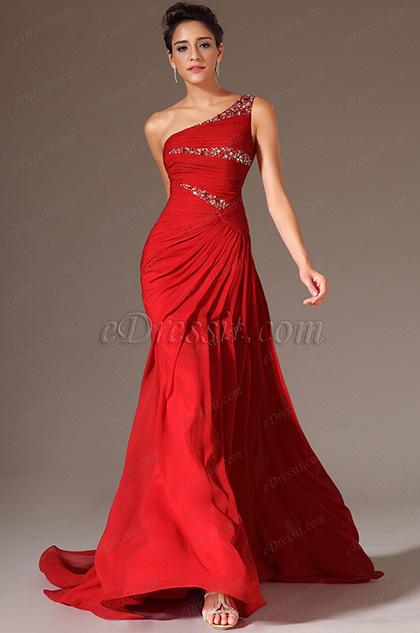 eDressit 2014 Nuevo Rojo Piedritas Solo Hombro Encaje Espalda Largura Vestido de Ceremonia(02144602)