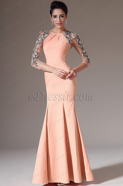 eDressit Sheer Back & Sleeves Orange Evening Dress(02141410)