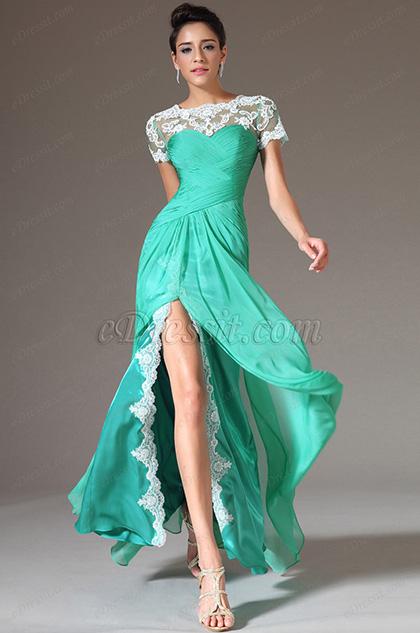 eDressit Green Top Lace Appliques High Slit Prom Dress(02142804)