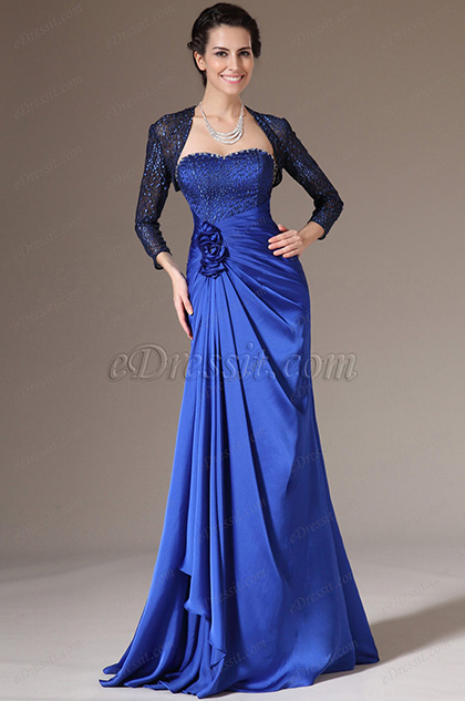 eDressit Blue Lace Bolero 2 Pieces Mother of the Bride Dress (26142705)