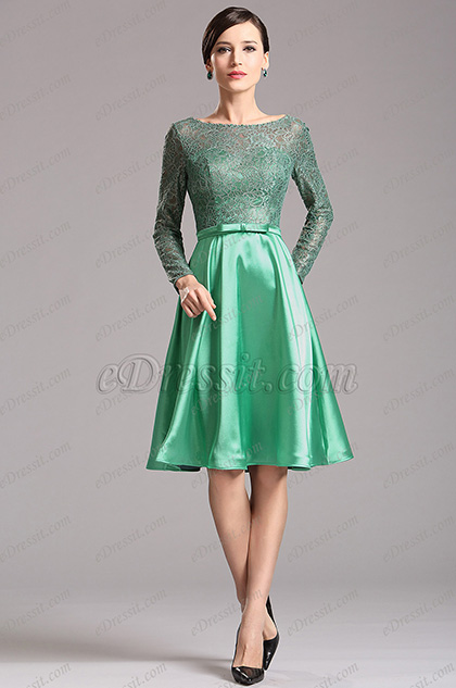 Green Long Lace Sleeves Illusion Sweetheart Short Dress (X04151804)
