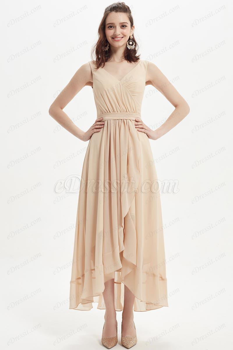 eDressit Sexy V-Cut Chiffon Tea Length Party Bridesmaid Dress (07218114)