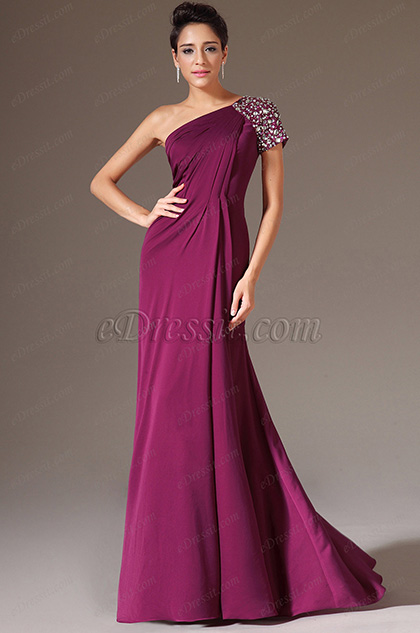 eDressit Beaded Single Short Sleeve Evening Gown (02143412)