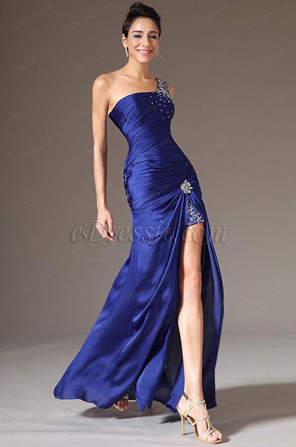 eDressit 2014 Novedad Azul Solo Tirante Alta Raja Vestido de Noche/Fiesta (00140205)