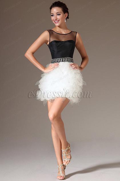 eDressit Sheer Top Black & White Cocktail Dress (04141007)
