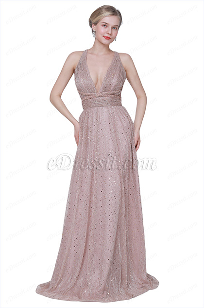 eDressit New V-Cut Halter Sequins Fabric Party Evening Dress (00191546)