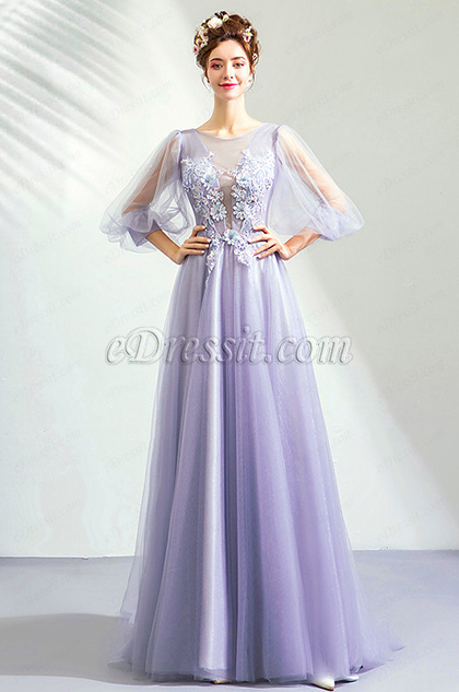 eDressit Light Lila Embroidery Tulle Party Prom Dress (36208606)