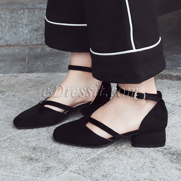 Simple Suede Toe Closed Pointed Flat Shoes (0919092)