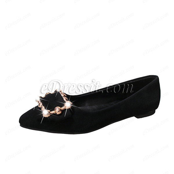 Fashion Suede Toe Closed Pointed Flat Shoes (0919084)