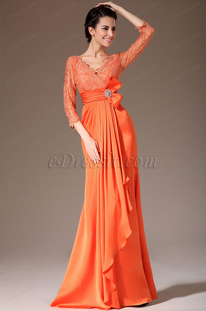 eDressit Orange V-Neck Lace Top Mother of the Bride Dress (26140810)