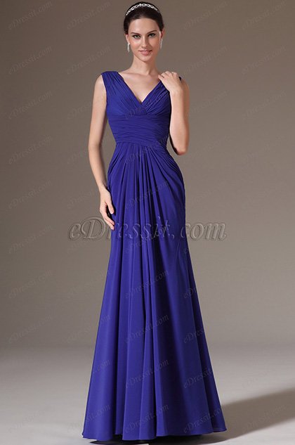 eDressit Blue V-Neck Lace Back Evening Dress (00145905)
