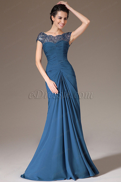 eDressit Blue Sequined Lace Top Prom Dress (26141405)