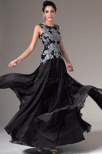 eDressit Black Sheer Top Embroidered Lace Evening Gown (02144300)