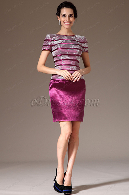 eDressit Pink Lace Top Short Sleeves Mother of the Bride Dress (26144812)