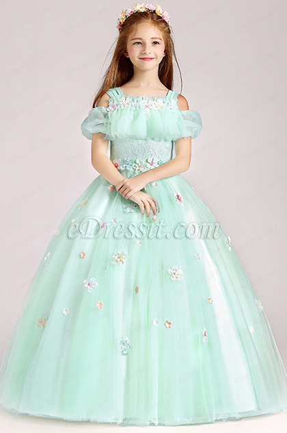 Tulle Handmade Wedding Flower Girl Party Dress