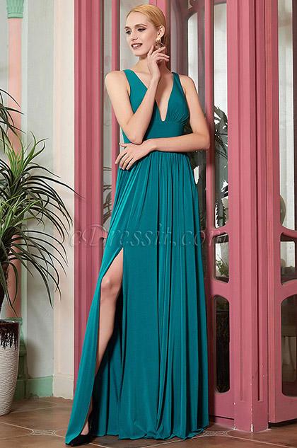 eDressit New Blue V-Cut Slit Bridesmaid Dress Evening Gown (07200305)