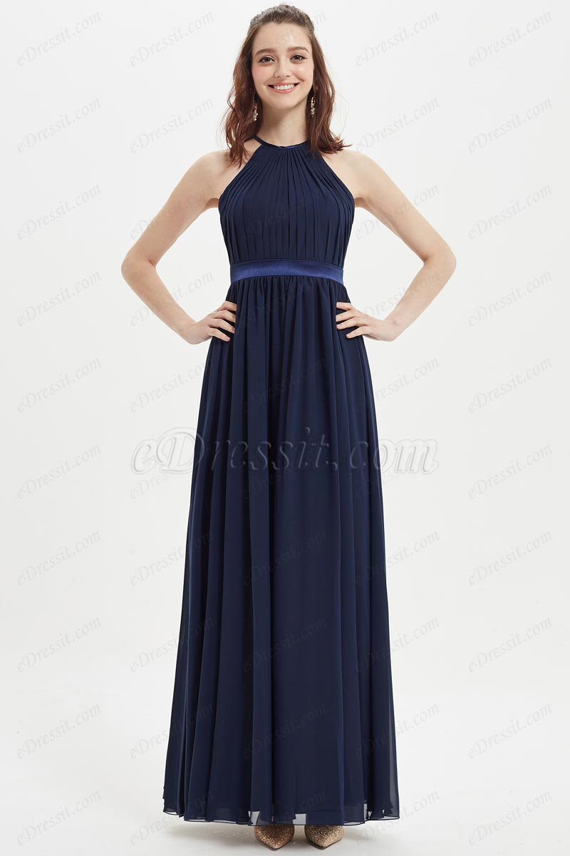 eDressit Dark Blue Halter Wedding Party Bridesmaid Dress (07214005)