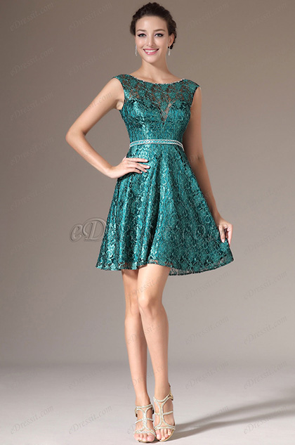 eDressit Green Sleeveless Lace Party Cocktail Dress (04141704)