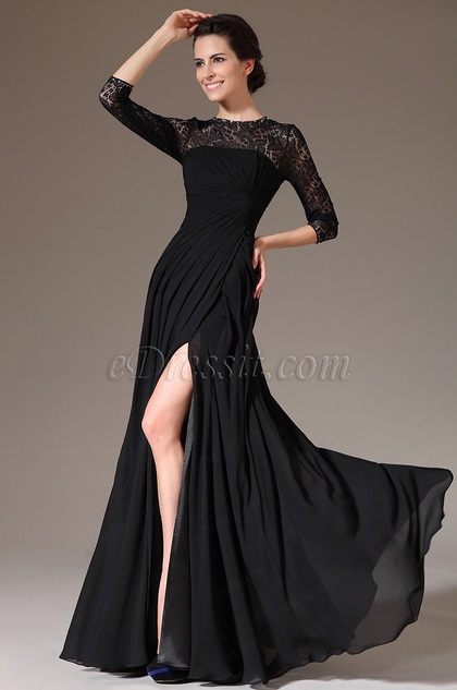 eDressit 2014 Novedad Negro Encaje Escote Redondo Alta Raja Vestido para Madre de la Novia(26141200)