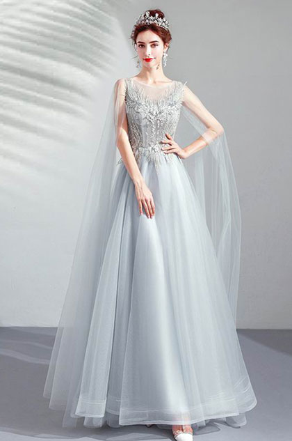 eDressit Grey Elegant Long Tulle Bride Evening Prom Dress (36213808)
