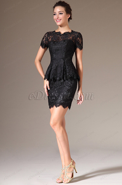 eDressit Short Sleeves Black Lace Dress (26141600)