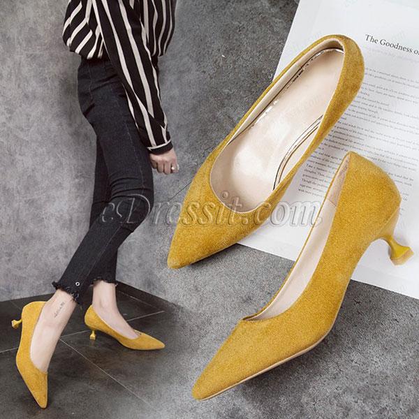 Women Chic Kitten Heels Closed Toe Shoes (0919088)