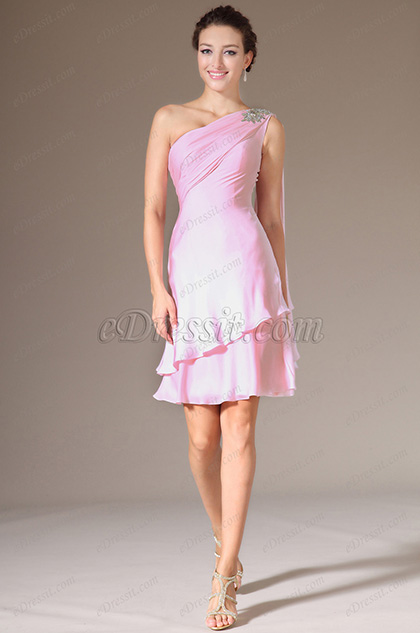 eDressit 2014 Novedad Rosado Piedritas Solo-Hombro Corto Vestido de Fiesta (04141401)