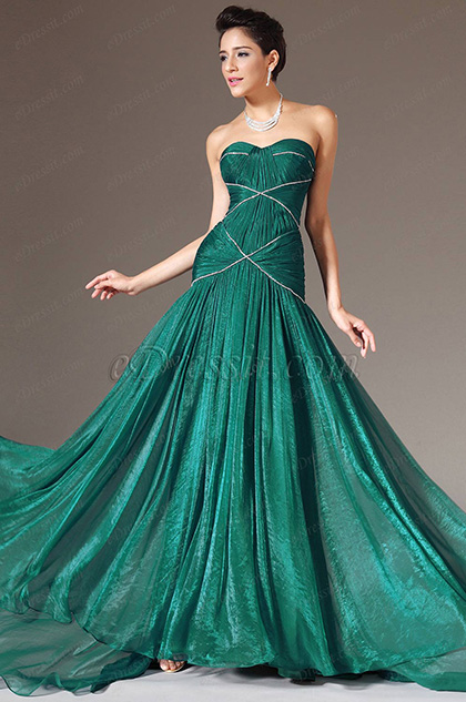 eDressit Green Strapless Sweetheart Evening Gown (00140604)