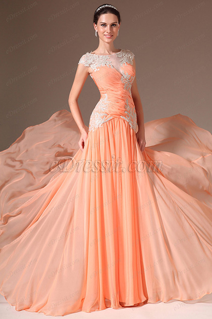 eDressit Sheer Top Floor-length with Train Formal Gown(02142710)