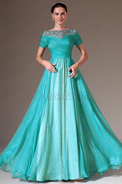 eDressit Blue Beaded Lace Top A-Line Prom Dress (26145805)