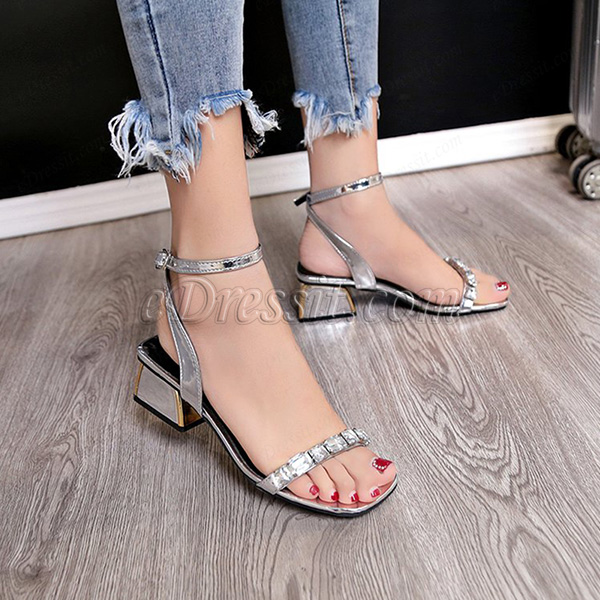 Women Shiny Beads Open Toe Buckle Sandals Shoes (0919082)