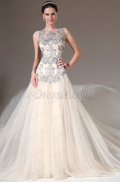 New Champagne Sheer Back Sleeveless Embroidered Evening Gown(02144114)