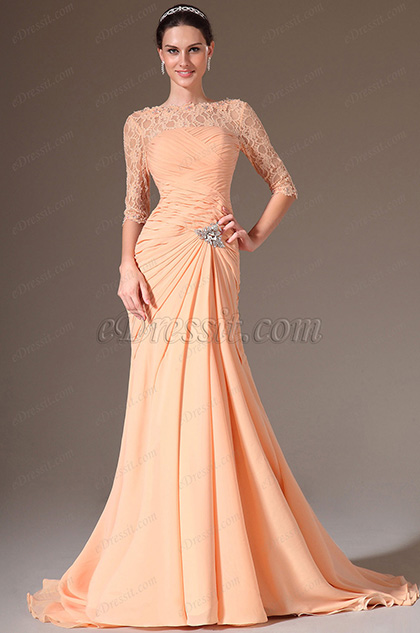 eDressit Orange Lace Top Half Sleeves Ball Prom Gown(26145910)