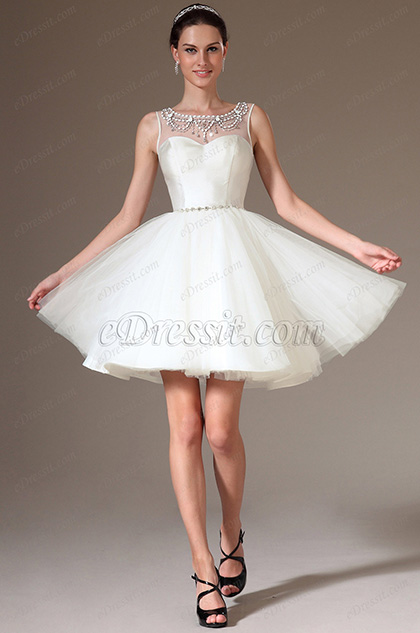 eDressit Beaded Sheer Top Short Organza Bridal Dress (01140407)