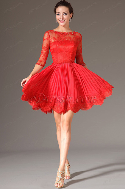 eDressit Red Lace Bodice Half Sleeves Party Dress (04142402)