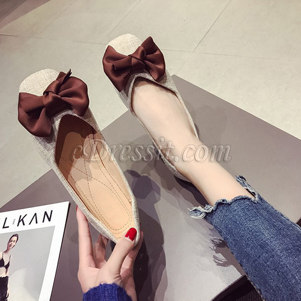 Women Bowknot Toe Closed Pointed Flat Shoes (0919090)