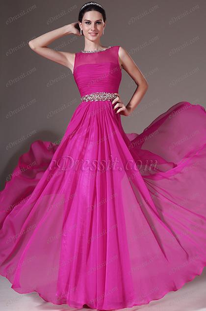 eDressit Sheer Top Sleevless Pink Evening Dress (00145112)