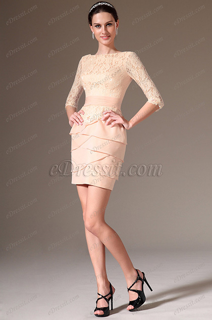 eDressit Pink Lace Top Half Sleeves Cocktail Dress (03141301)