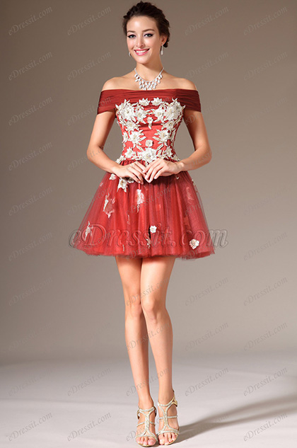eDressit 2014 Neu Off-Schulter Mini-Rock Cocktail/Party Kleid (04140410)
