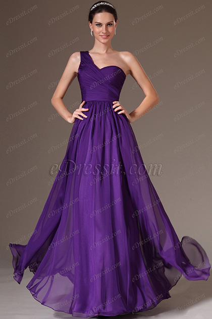 eDressit Purple Simple One-Shoulder Lace Back Prom Dress (00143706)