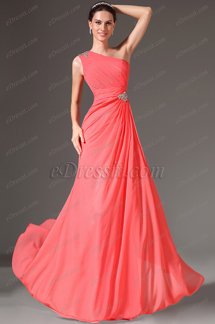 eDressit Coral Beaded One-Shoulder A-Line Evening Gown(00145357)