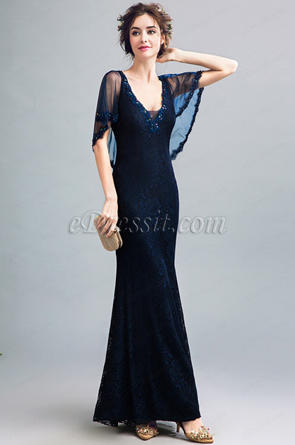 eDressit Dark Blue Lace Cape V-Cut Party Evening Ball Dress (36200805)